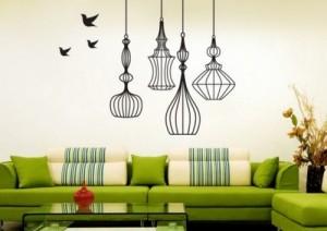 decoração de paredes verde e preto