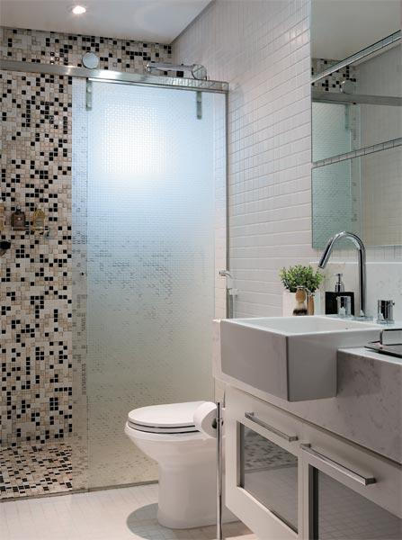 30 fotos de decoração de banheiros com pastilhas -> Banheiro Com Acabamento Em Pastilhas