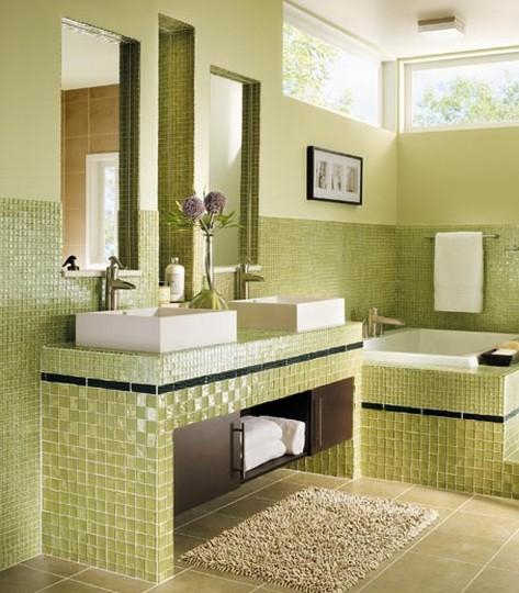 banheiros com pastilhas verdes